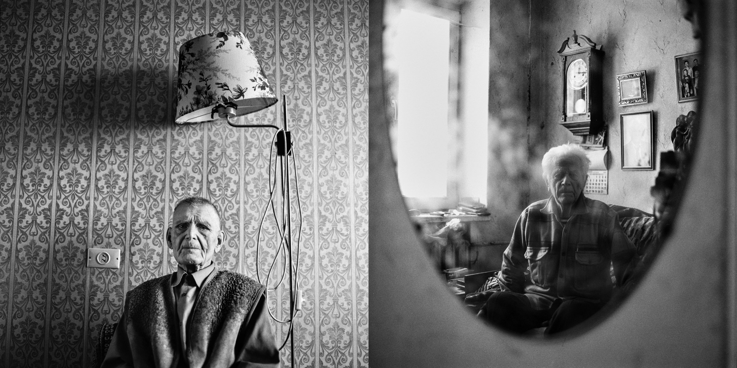 Belarusian veterans portraits of WW 2 sitting in their flats in Minsk, documentary black-and-white photo project